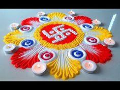 Design Discover Diwali Special Beautiful New Tricky Rangoli 2018 Easy Rangoli Designs Videos, Indian Rangoli Designs, Rangoli Designs Latest, Rangoli Designs Flower, Rangoli Border Designs, Colorful Rangoli Designs, Rangoli Ideas, Rangoli Designs Images, Flower Rangoli