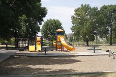 Eastown Park has playground equipment, picnic tables and is located next to a baseball field.
