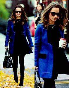 Pippa wearing a blue and black tuxedo jacket today in London.