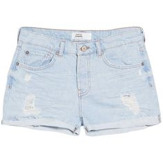 Mango Denim Cotton Shorts , Light Open Blue (105 CAD) ❤ liked on Polyvore