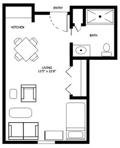 Studio Apartment Floor Design studio apartment floor plan | house plans i like | pinterest