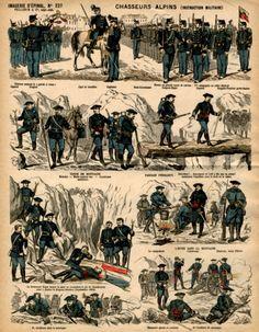 Scènes de la vie des bataillons alpins (imagerie d'Epinal).