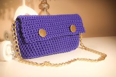 Blue crochet purse with gold details and chain by CrochetGrace