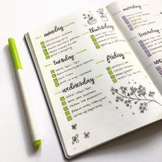 Bullet journal weekly spread, flower doodle, plant doodle, planner. @maryberrystudy