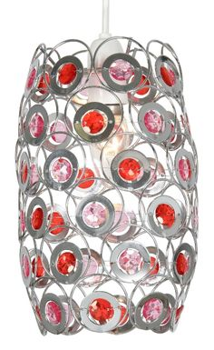 The Oaks lighting Tulsa is a cylinder shaped chrome metal fretwork lampshade with ruby and pink acrylic detail. Fits directly onto a ceiling light pendant. Other colours available see luxurylighting.co.uk.