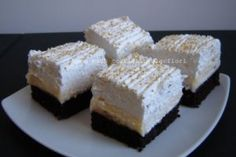 """Prajitura """"Cuburi de gheata"""" Sweets Recipes, Cooking Recipes, Eat Dessert First, Mousse, Delicious Desserts, Sweet Treats, Cheesecake, Food And Drink, Sweets"""