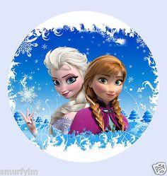 "FROZEN DISNEY ELSA ANNA Princess x1 Cake Topper Edible RICE PAPER Birthday 7.5"""