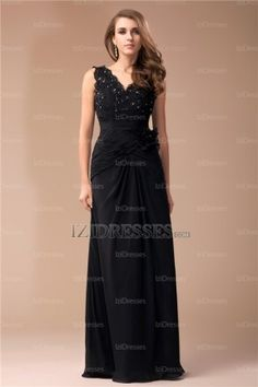 Cheap Nice Sheath Column V-neck Sleeveless Floor Length Beading Lace  Chiffon Dress 0ba56886e
