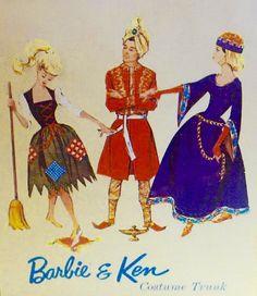 "Barbie & Ken Costume Trunk Artwork. Ponytail Barbie wears ""Poor Cinderella"" ensemble; Ken wears his dashing ""Arabian Knights"" outfit; Brunette Barbie wears the elaborate ""Lady Guinevere"" ensemble."