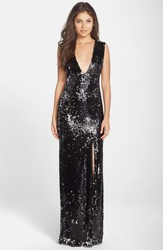 Rachel+Zoe+'Venus'+Sequin+V-Neck+Column+Gown+available+at+#Nordstrom