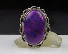 Sterling Silver Purple Turquoise Ring Mojave Mohave Stone 925 Band Authentic #Unknown #Cocktail