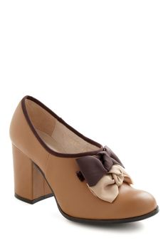 Dinner and a Bow Heel - Tan, Brown, Solid, Bows, High, Work, Vintage Inspired, Fall