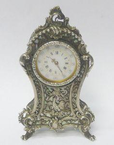 Antique Silver Clock 1900 stock id 8055
