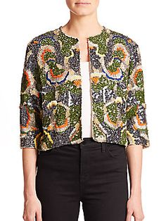 Alice   Olivia Iliana Beaded Jacket
