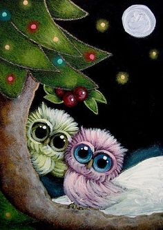 Detail Image for art HOLIDAY TINY OWLS - MISTLETOE