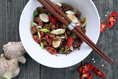 Fläskfärs med chili, vitlök och ingefära, fläskfärs recept, asiatisk fläsk, asiatisk fläskfärs, kina recept