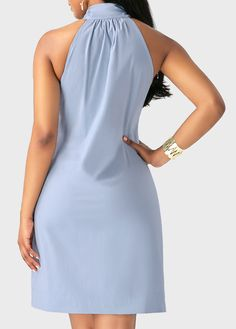 Sleeveless Light Blue Tie Neck Mini Dress on sale only US$9.99 now, buy cheap Sleeveless Light Blue Tie Neck Mini Dress at liligal.com African Wear, African Dress, African Fashion, Sexy Outfits, Stylish Outfits, Girl Outfits, Casual Wear, Casual Dresses, Dresses For Work