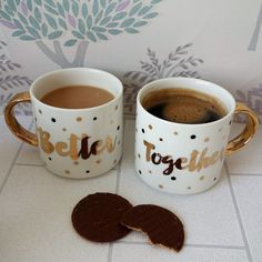 Better Together Stack Mugs This sweet set of stacking mugs will add a perfectly loved vibe into any kitchen With its gold script writing and matching Script Writing, Christmas Gift Sets, Better Together, Couple Gifts, Great Gifts, Just For You, Wellness, Mugs, Tableware