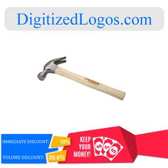 Get the 16oz. Wood Hammer at only $6.23 instead of $6.92 plus more discount on volume purchase! Please visit Digitizedlogos.com for more information and inquiry.