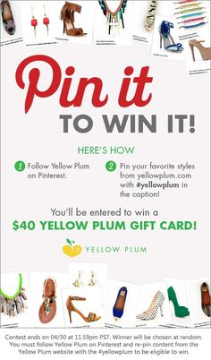 Win a $40 Yellow Plum gift card !!! =) Follow Yellow Plum on Pinterest @ http://pinterest.com/yellowplum/ . Pin your fave styles from www.YellowPlum.com with the caption #yellowplum
