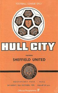 Hull City 1 Sheffield Utd 1 in Oct 1970 at Boothferry Park. The programme cover #Div2