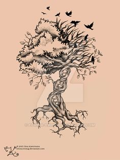 Tree of Life Birds DNA Tattoo by Elvina-Ewing