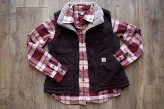 Carhartt Women's Mock Neck Sandstone Vest and Hamilton Flannel Shirt
