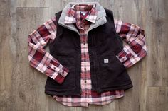 Carhartt Women's Mock Neck Sandstone Vest and Hamilton Flannel Shirt