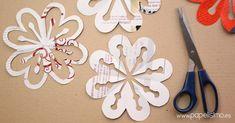 Cómo hacer esfera colgante flores de papel - PAPELISIMO Burlap Flowers, Fabric Flowers, Old Book Crafts, Paper Crafts, Kirigami, Diy Home Crafts, Sewing Crafts, Advent, Letter Activities