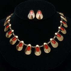 Necklace Earrings Set Vintage Matisse Renoir Red Enamel and Copper | eBay