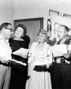 The gangs all here recording their voices as used in The Flintstones cartoons in th Pictured are: Alan Reed (Fred Flintstone), Jean Vader Pyl (Wilma Flintstone), Bea Benaderet (Betty Rubble) and the amazing Mel Blanc (Barney Rubble and Dino). Jackie Gleason, Tony Curtis, Vintage Cartoon, Cartoon Tv, Vintage Tv, Vintage Hollywood, Cartoon Characters, Old Cartoons, Classic Cartoons