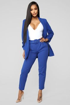 Shop matching sets for women, two piece outfits with pants, shorts and skirts and cute co-ord sets for work-worthy looks, dynamite daytime styles and knock-out night ensembles. Royal Blue Pants, Royal Blue Outfits, High Jeans, High Waist Jeans, Office Dresses For Women, Plaid Pencil Skirt, Business Outfits, Business Attire, Fashion Nova Models