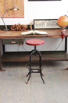 Vintage Industrial Toledo UHL Draftsman Stool/ by DorsetFinds