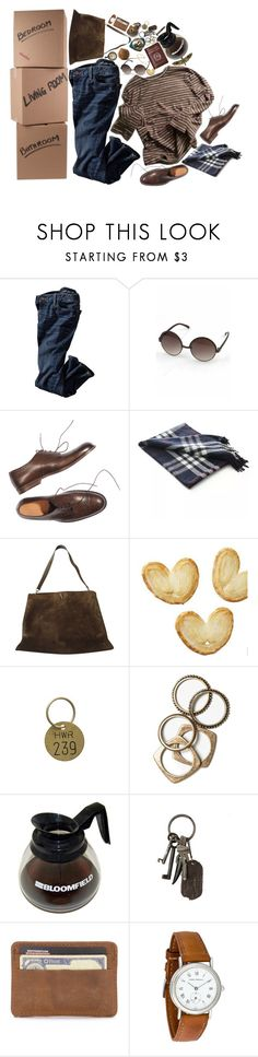 """""""Moving Out"""" by lsaroskyl ❤ liked on Polyvore featuring Möve, Margaret Howell, CÉLINE, Jayson Home, Rachel Leigh, AllSaints and Girard-Perregaux"""