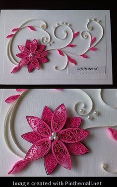 quilling red flower card