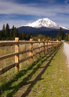 Ranch Fence Row Countryside Rural California Mt Shasta Stock Photo