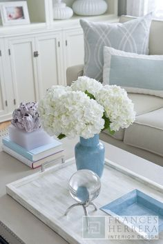 Cottage, country living room // Frances Herrera Interior Design- love the mix of soft blues!