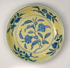 Dish, underglazed, paintedporcelain, Xuande Period, Ming dynasty Production place: Jingdezhen 1426-1435