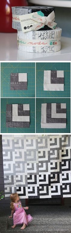 New patchwork quilt grey log cabins ideas Baby Patchwork Quilt, Patchwork Quilt Patterns, Grey Quilt, Quilt Patterns Free, Free Pattern, Quilt Baby, Block Patterns, Strip Quilts, Easy Quilts