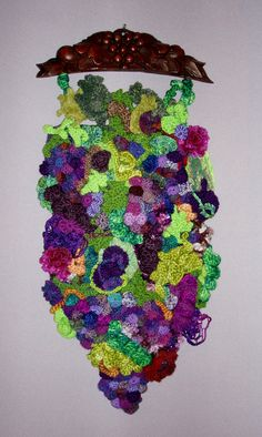 Freeform Crochet Wall Hanging Grapes on the Vine by lakeviewarts, $325.00