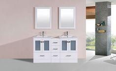 "60"" Hermosa White Double Modern Bathroom Vanity with Side Cabinet and Integrated Sinks #BathroomRemodel #BlondyBathHome #BathroomVanity  #ModernVanity"