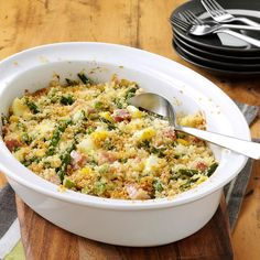 Ham and Asparagus Casserole Recipe -This family-favorite casserole is perfect for all occasions. But it's especially nice for an Easter brunch—the ham, hard-cooked eggs and asparagus in it are so much a part of that special day. Cinnamon-flavored yeast bread makes a tasty accompaniment for this easy casserole, as do rolls.