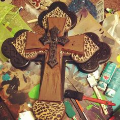 Wooden decorative cross leopard and black by DecorAddict8 on Etsy, $45.00