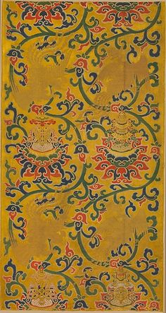 Chinese Textile Collection at Met Museum. 明早期 纏枝蓮托八寳鳳鳥紋妝花緞Textile Panel with Phoenixes and Lotuses