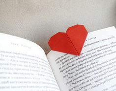 How to make an origami heart bookmark, hide that in his book with a note