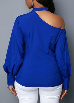 Royal Blue Long Sleeve Cutout Shoulder Blouse | Rotita.com - USD $24.12 Royal Blue Outfits, Royal Blue Skirts, Royal Blue Blouse, Football Mom Shirts, Fashion Illustration Dresses, Stylish Dresses, Blue Wedding, Wedding Flowers, Silver Weddings