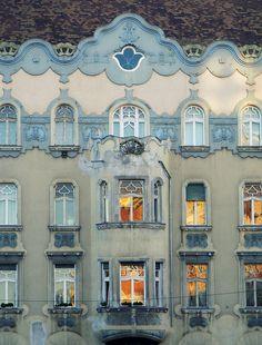 * * * * * ☆ Favorite * Older art nouveau building, Budapest, Thököly Street, Hungary