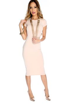 159be90268 Sexy Beige Short Sleeve Keyhole Cut Out Back Midi Bodycon Party Dress