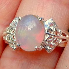 Welo Opal sz 7 Sparkling White Topaz by JanesGemCreations on Etsy