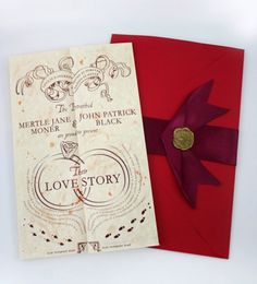 An HP themed Wedding invitation? Yes, Please! If I ever get married, I hope it's to a guy who will want to do something like this.